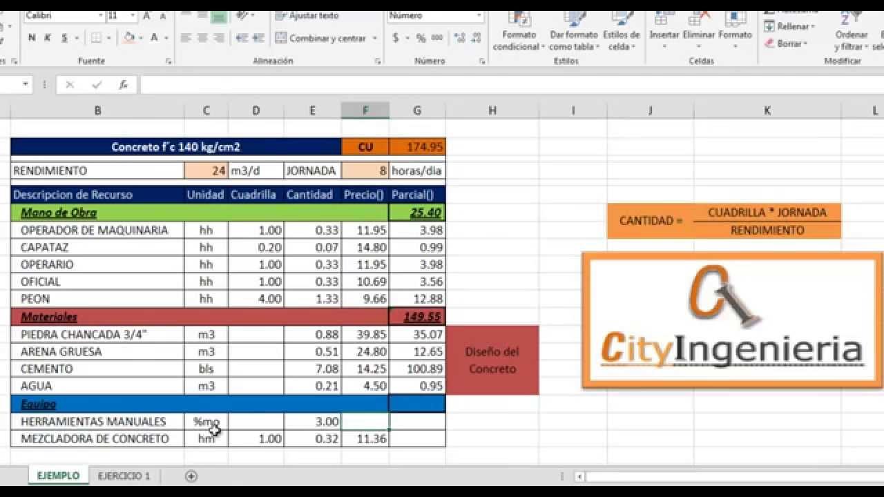 Análisis de Costo Unitario en Excel: Concreto f´c = 140kg/cm2 - YouTube
