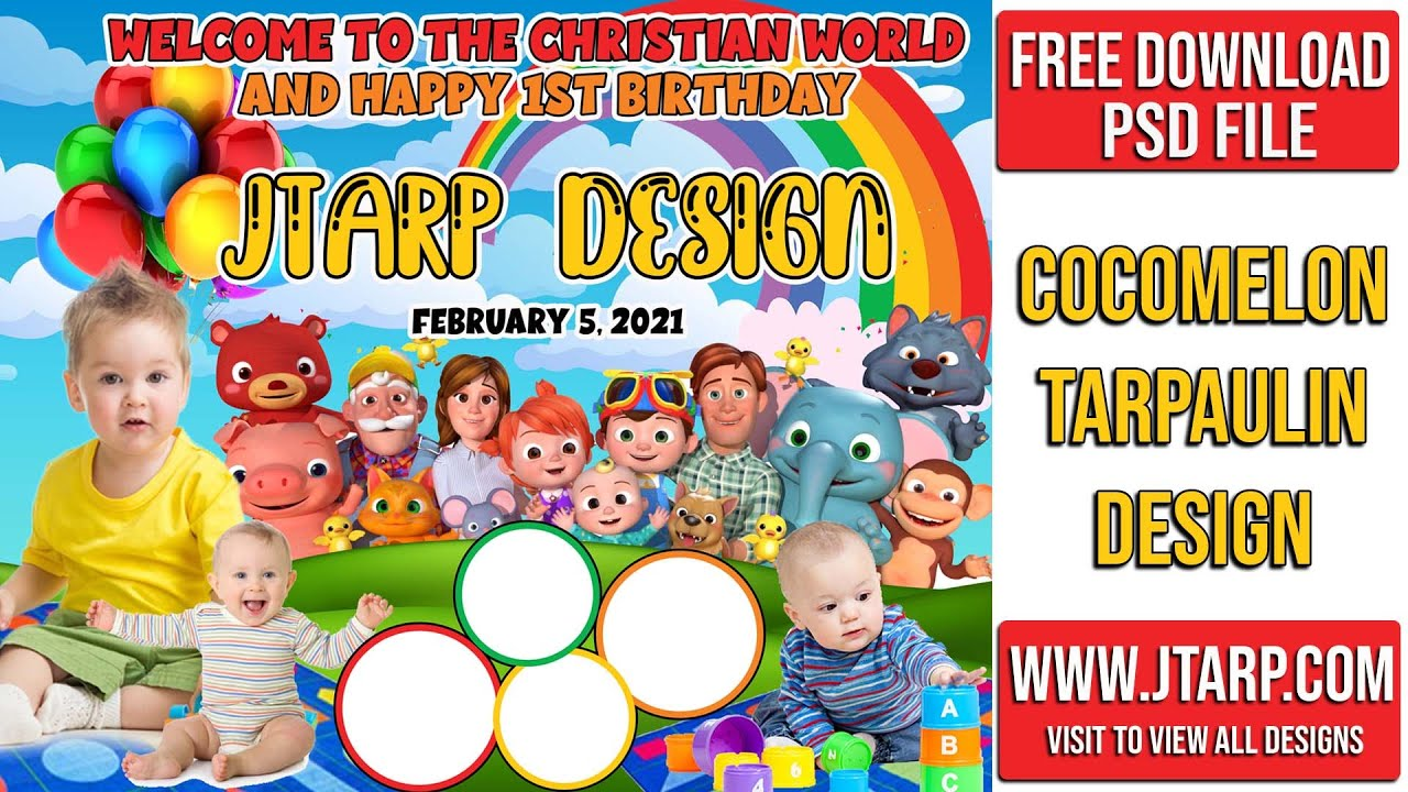 how to make cocomelon theme tarpaulin layout design for birthday and christening photoshop tutorial