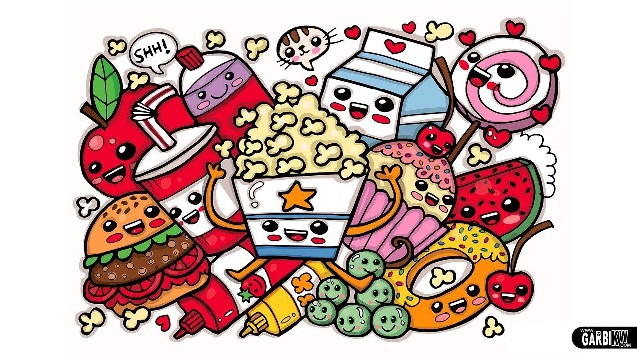 Coloring Cute Food Easy and Kawaii Graffiti by Garbi KW