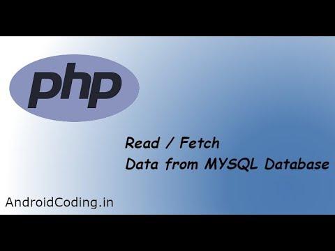 PHP Fetch Data from MYSQL DB