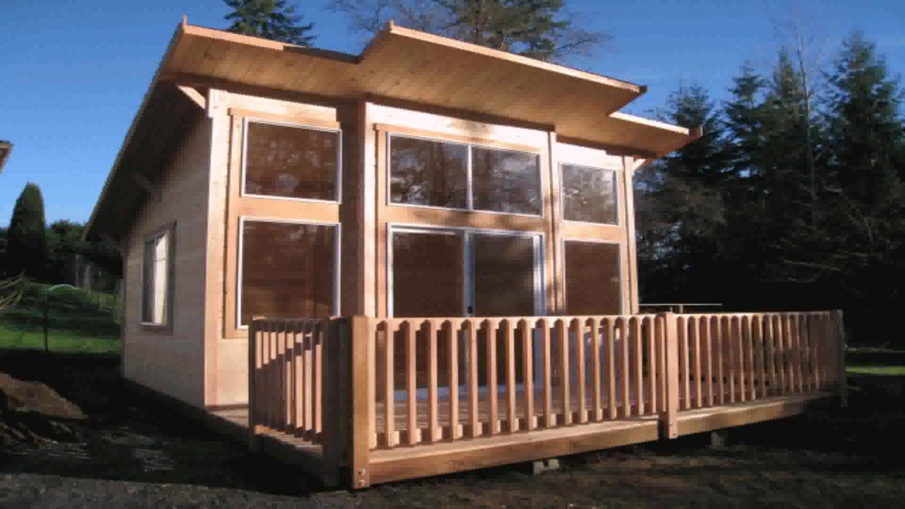 Shed style roof tiny house youtube for Building a shed style roof