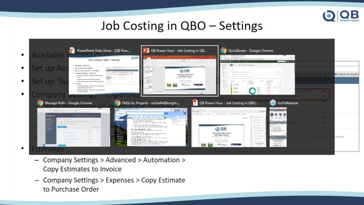 job costing in quickbooks