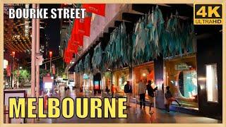 MELBOURNE CITY CENTRE NIGHT TIME AUSTRALIA 4K