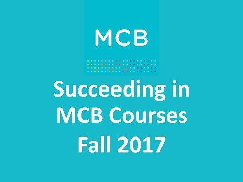 MCB Workshop: Succeeding in MCB Courses 2017