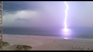 Dangerous lightning strikes clearwater beach florida caught on tape