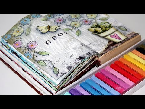 ART JOURNAL Page With Chalk Pastels And Flower Stamps