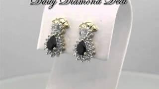14K Yellow Gold Womens Sapphire Diamond Earrings