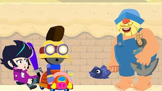 Brawl Stars Animation | FISHERMAN vs BiBi vs Hog Rider Carl (Parody)