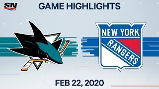 NHL Highlights | Sharks vs. Rangers - Feb. 22, 2020