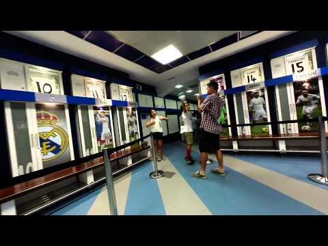 Walk thru the Real Madrid locker room and out onto the pitch at Estadio Bernabéu