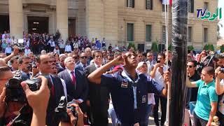 جامعة القاهرة تؤدي تحية العلم لأول مرة في تاريخ مصر بمشاركة الوزير