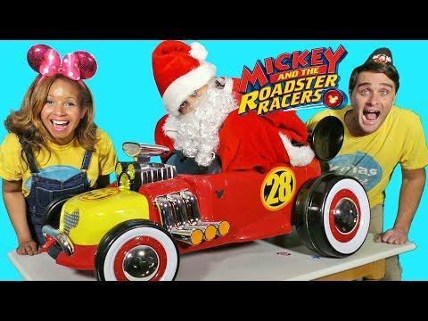 Mickey e os Roadster Racers andam de carro + Santa Toy Challenge!  - Revisão de brinquedos - Konas2002 - 동영상