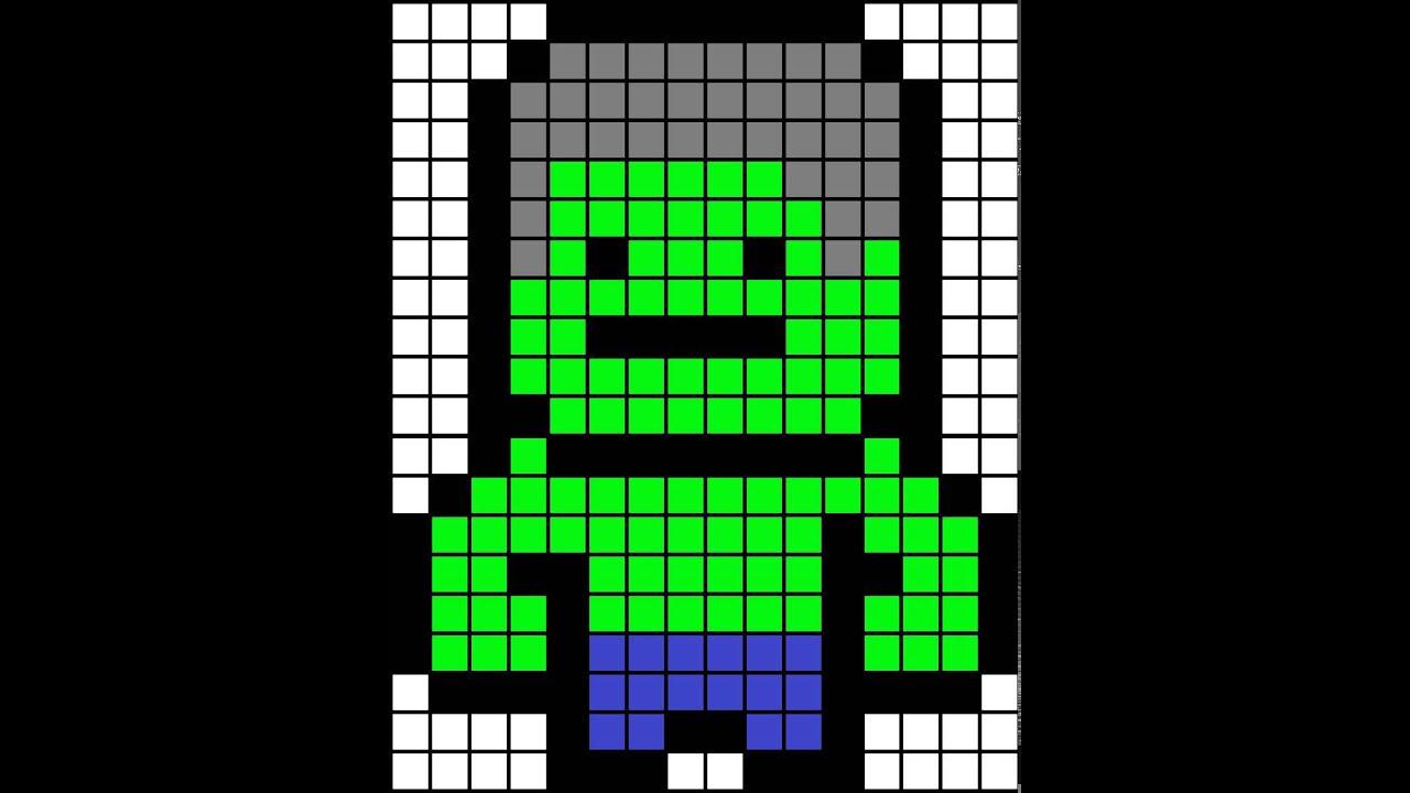 Minecraft pixel art template hulk - YouTube