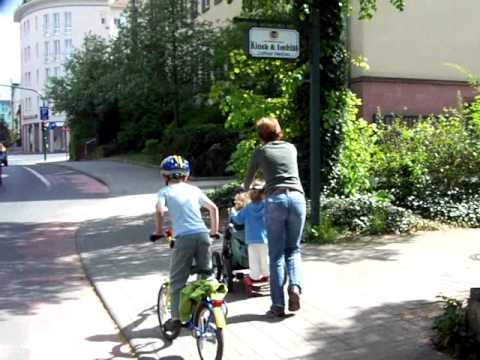 Baby Carriage with Trailer attached. In Fulda, Germany