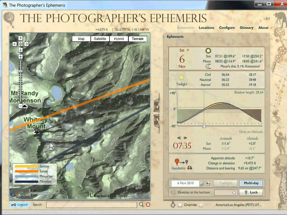 the photographers ephemeris