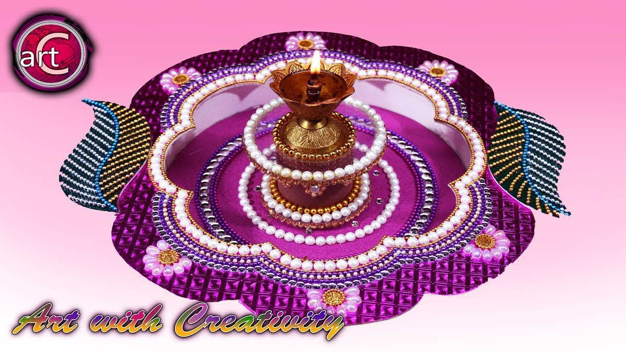 Diy how to make decorated thali handmade thali puja for Handmade best out of waste