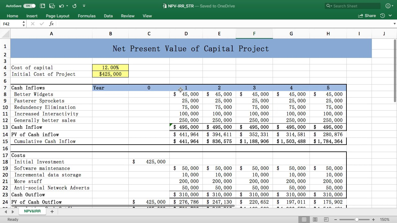 Excel NPV & IRR Functions