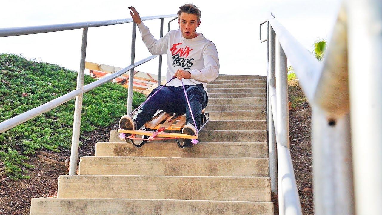 extreme-sledding-down-30-stairs-stupididea