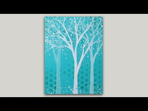 Acrylic Painting Monochromatic Trees On Abstract Background