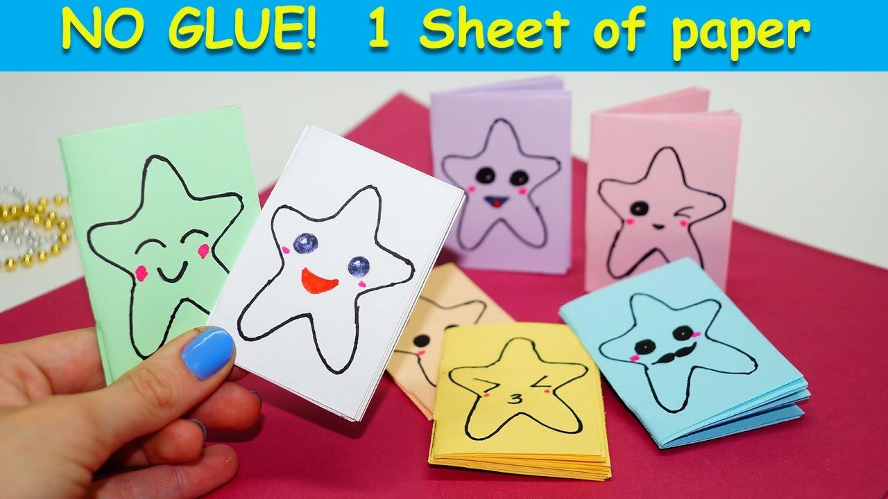 Diy Kawaii Notebook Of 1 Sheet Of Paper No Glue Kawaii Star Mini Notebook Easy Ideas For School