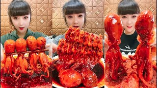 Spicy and Live Mukbang Eating Seafood ASMR  Delicious Octopus, Lobster | Chinese food #81