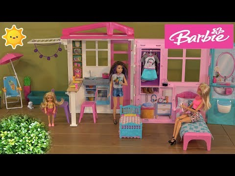 Barbie Story: Skipper and Chelsea Sleepover in Barbie New Close and Go Barbie House and Pool