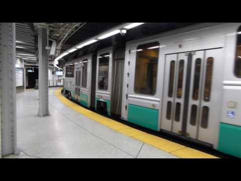 MBTA Boston T: Kinki Sharyo/Breda Green Line Branch C Train at Government Center Station