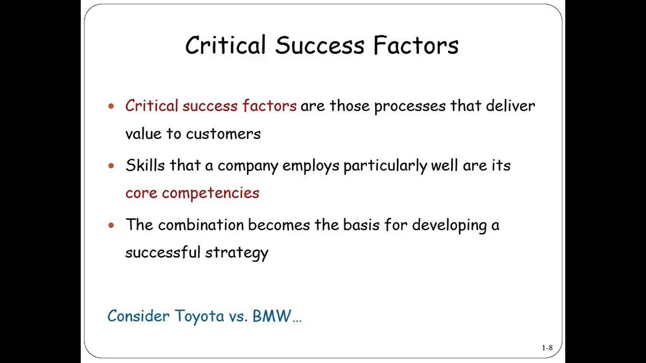 essay on critical success factors Critical success factor report table of contents introduction 3 john lewis: a brief overview 3 customer analysis 4 competitor analysis 5 macro environment analy.
