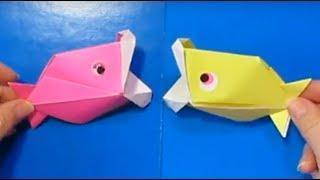 ОРИГАМИ РЫБКА из БУМАГИ / Поделки с детьми из бумаги Игрушка Говорящая Рыбка из цветной бумаги