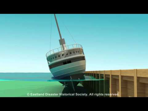 Eastland Disaster animation of ship rolling into the Chicago River