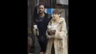 jamie dornan and wife amelia warner have a starbucks run in london