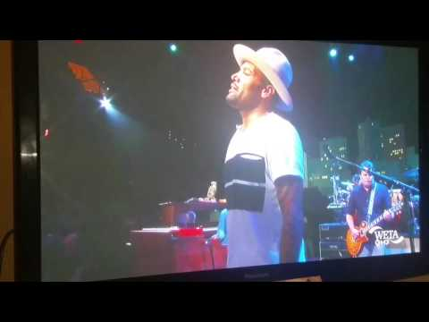 Ben Harper takes a nasty spill on stage.