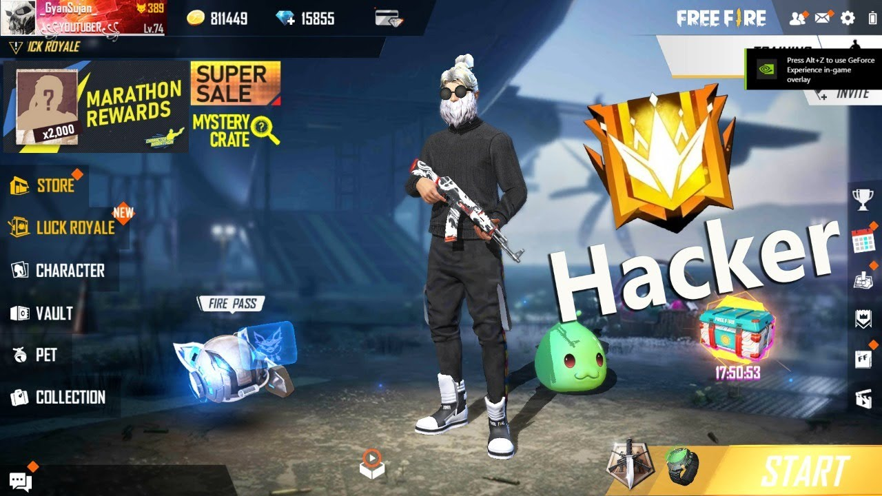 Free Fire Live | Hacker Gameplay - Garena Free Fire