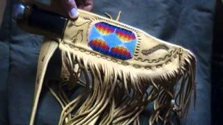 Native American Bowie Knife (Soligen) Bead work and leather belt and sheath