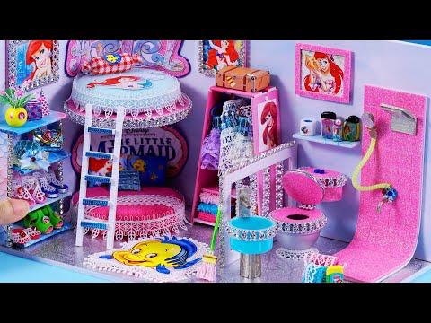 DIY Miniature Dollhouse Bathroom and Bedroom ~  Ariel Room Decor, Shoes #55