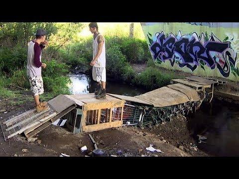 Meet the homeless man who built this shopping cart bridge