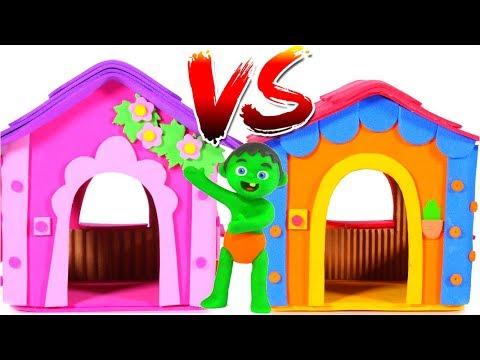 PINK LITTLE HOUSE VS BLUE LITTLE HOUSE 鉂� PLAY DOH CARTOONS FOR KIDS