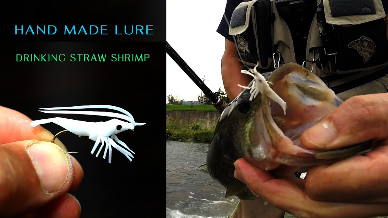 Challenge fishing with shrimp lure made from drinking straw