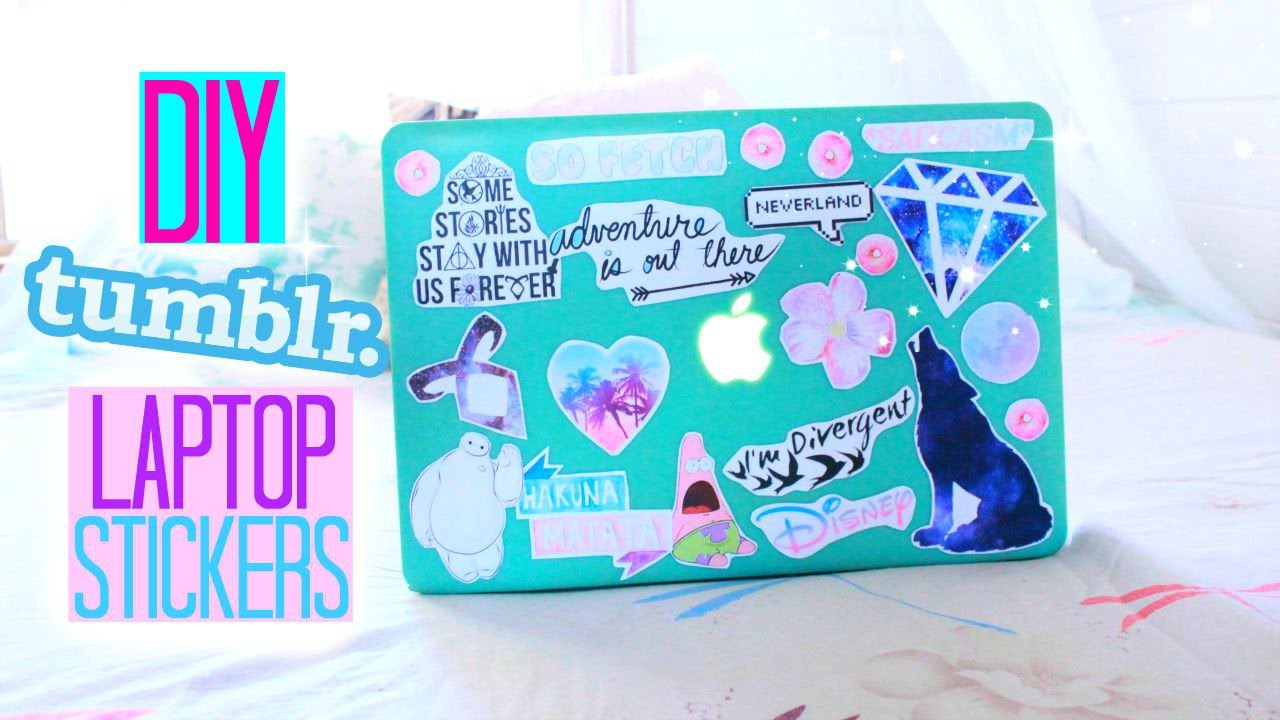 DIY Tumblr Inspired Laptop Stickers - YouTube for Cute Stickers Tumblr Hd  166kxo