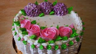 ВЕСЕННИЙ ЛЕГКИЙ бисквитный торт с йогуртовым кремом и фруктами УКРАШЕНИЕ тортов кремом