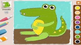 Развивающие видео для детей - Раскраска крокодильчик Memollow