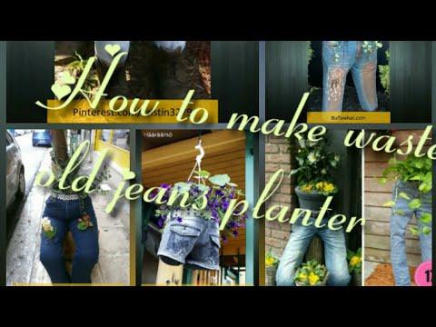 #diy#jeansplanter How to make waste old jeans planter to decorate ur garden