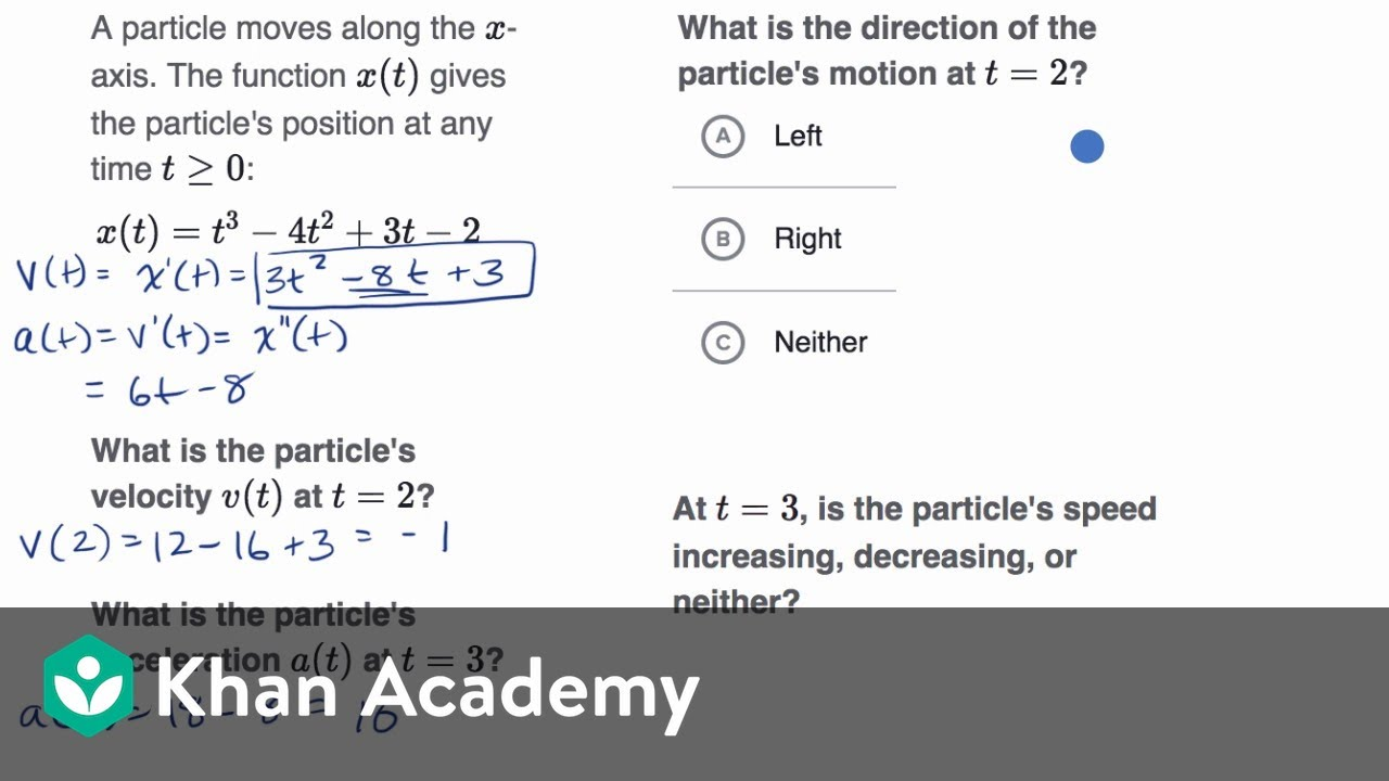 Worked example: Motion problems with derivatives (video