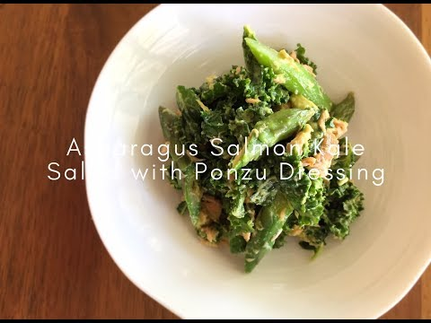 Asparagus Salmon Kale Salad With Ponzu