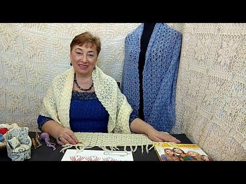 """Палантин """"Голубые сумерки"""".  Мастер-класс по вязанию крючком от О. С. Литвиной."""