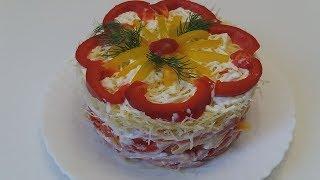 Салат с ветчиной ,сыром,томатами и сладким перцем