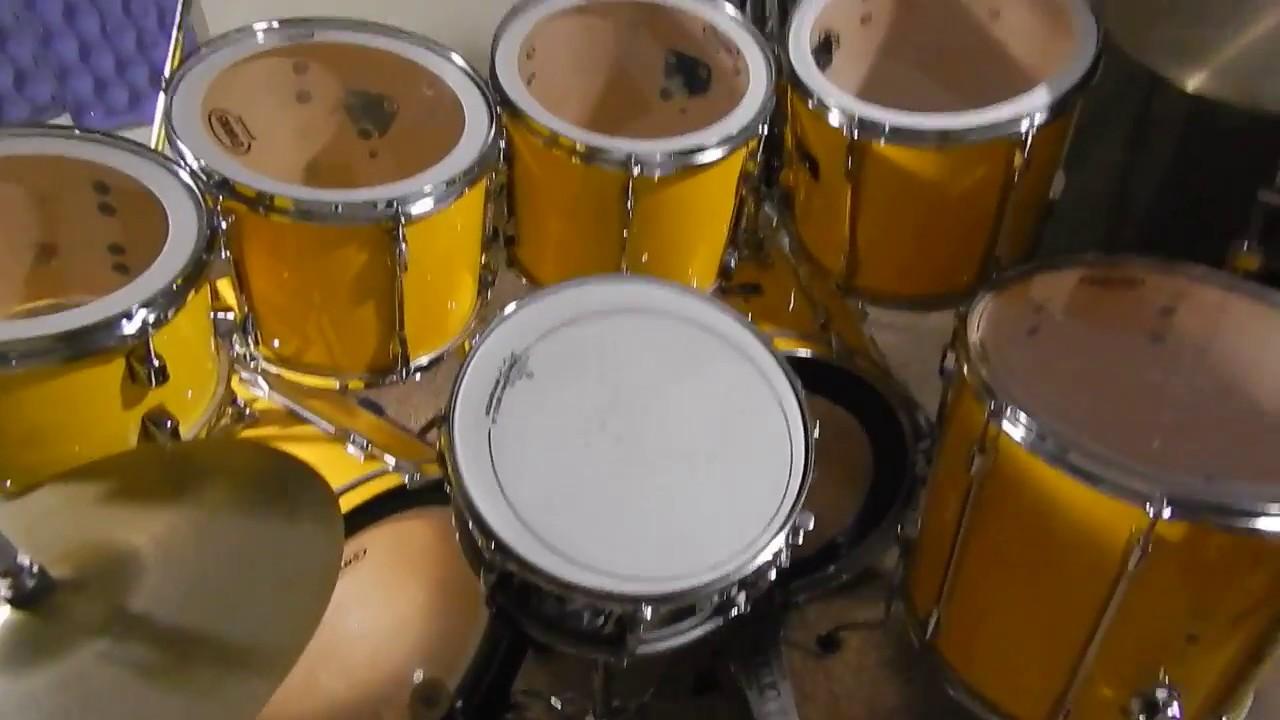 Pearl Export Series Drum Kit In 60 Yellow Flash 1989 92 Youtube
