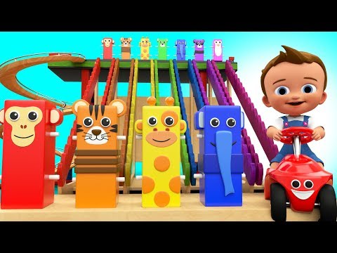 Baby Playing with Wooden Tumbling Toys to Learning Animals Names 3D Kids Toddler Educational Toys
