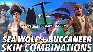 """Sea Wolf + Buccaneer "" SKIN BEST BACKBLING + SKIN COMBOS! (Season 8) (Fortnite) (2019)"