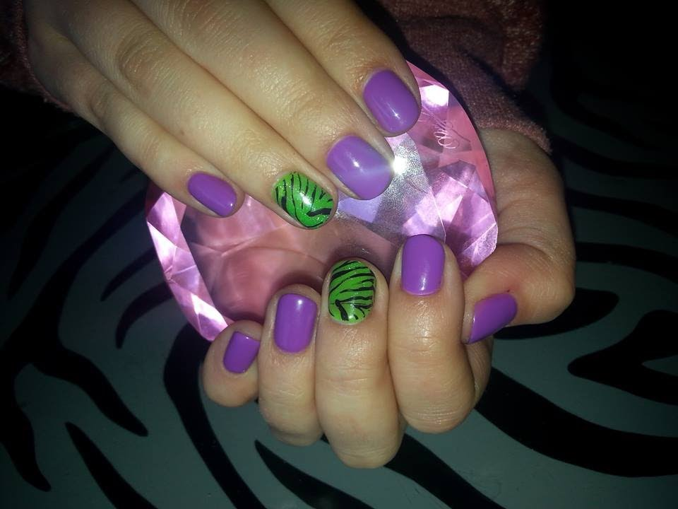 Gel Polish L Neon Purple Green L Nail Design Youtube